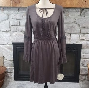 Knox Rose gray long sleeve tie peasant dress XS